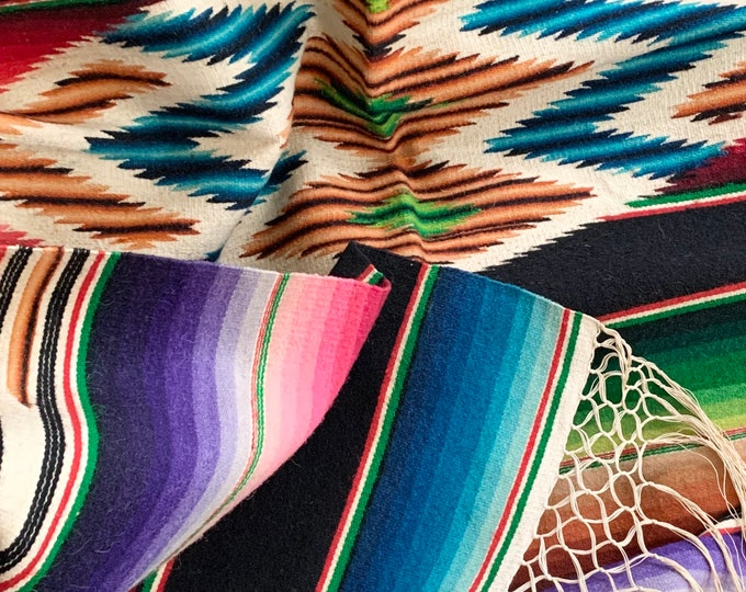 Vibrant Antique Serape Blanket Throw Vintage 30s 40s Handwoven Mexican Saltillo Wall Hanging Rug Stunning Excellent Condition