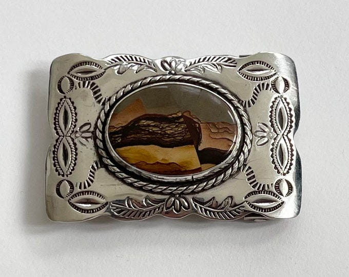 Navajo Sterling Silver Buckle Vintage Native American Men's Belt Buckles Hand Stamped with Picture Jasper Stone