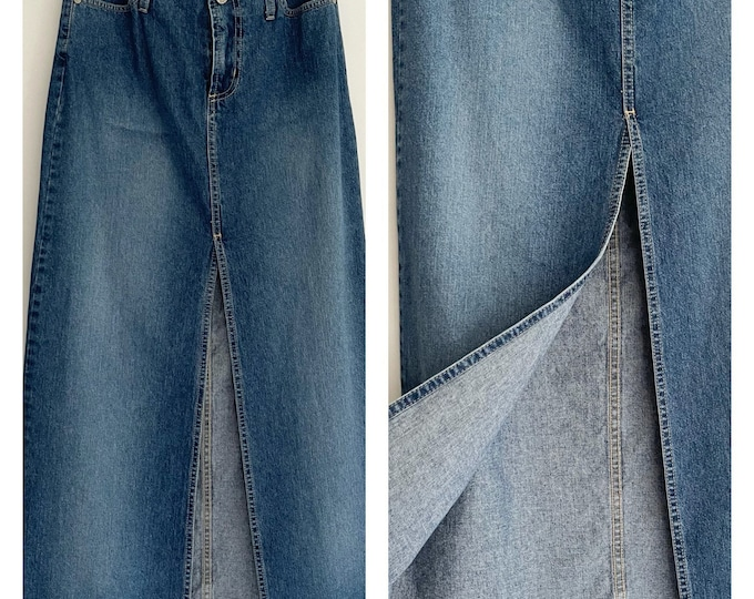 90s Denim Midi Skirt Front Slit Vintage Paris Blues Long Mid Calf Ankle Jean Skirt Unfinished Waistband Made in USA Size XXS XS