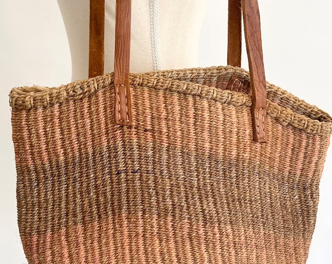 Faded Sisal Market Bag Leather Straps Neutral Faded Beige Blush Pink Stripes Striped Beach Bag Tote Clean Interior