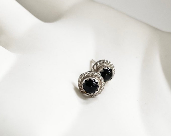 Tiny Navajo Stud Earrings Sterling Silver Black Onyx Vintage Southwest Native American Studs Small