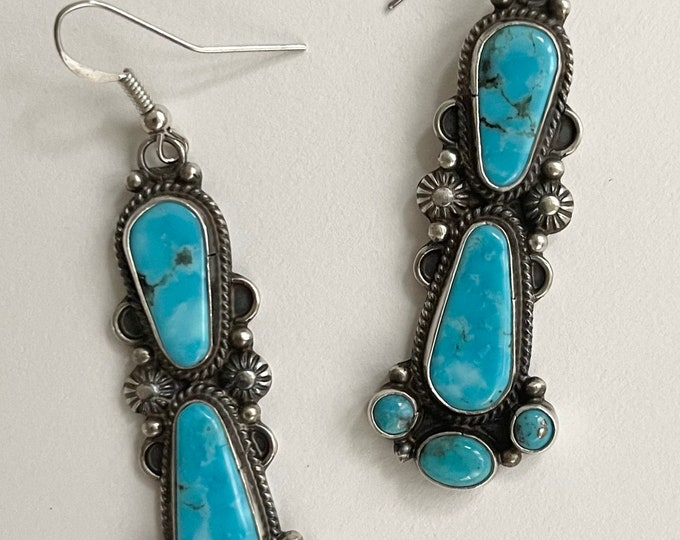 Long Turquoise Dangle Earrings Vintage Artist Signed DD Native American Navajo Aged Sterling Silver Patina