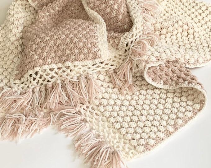 Blush Winter White Throw Crochet Blanket Afghan Vintage Hand Knit Handmade Reversible Popcorn Knit Fringe Edge