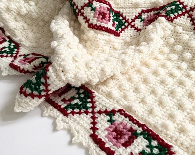 Floral Hand Knit Throw Blanket Afghan Handmade Vintage Natural White Crochet Popcorn Knit Stitched Flower Rose Design