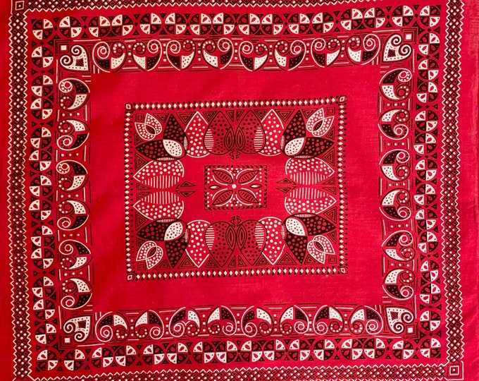 Red Fast Color Bandana Vintage 60s 70's All Cotton Lightweight Weave Red White Black Floral Print