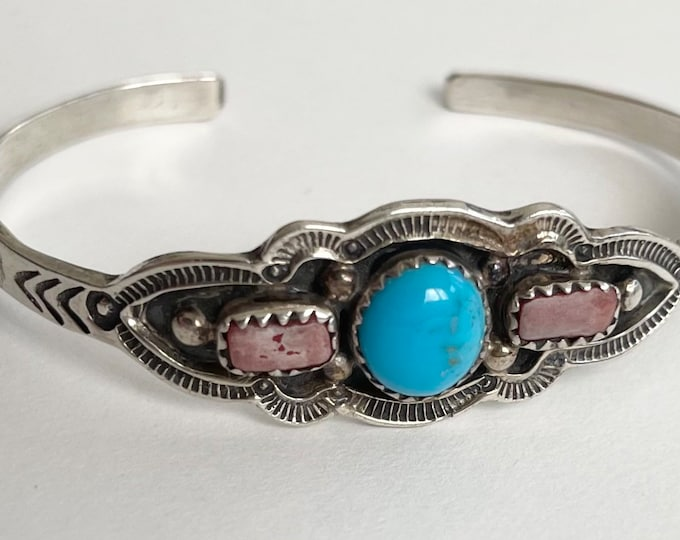 Navajo Turquoise Bracelet Cuff Vintage Fred Harvey Era Style Native American Navajo Hand Stamped Sterling Silver Band Artist Signed RB