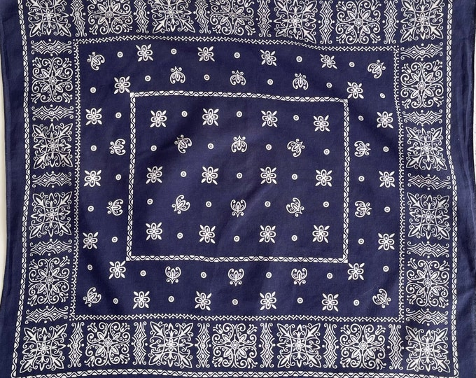 Lightweight Indigo Bandana Vintage 50's 60's Elephant Trunk Up Vintage Fast Color All Cotton Navy Blue White Floral Scroll Print