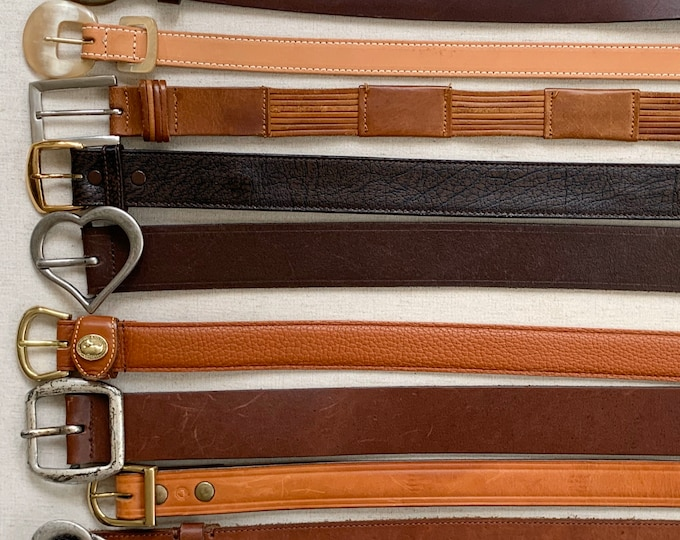 Plain Brown Leather Belt Belts Vintage Mens Women's Belts Minimalist Simple Classic Style Western Distressed Upcycle