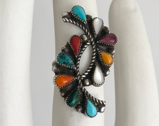 Signed Zuni Ring by Artist Phyllis Coonis Multi Stone Turquoise Coral Spiny Oyster Malachite Vintage Native American Sterling Silver 7.5