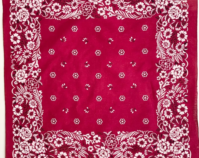 Wine Floral Print Bandana Vintage 70s 80s All Cotton Flower Rose Border Merlot Burgundy Red White Black