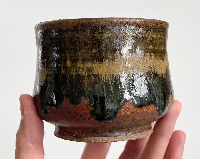 Small 70s Pottery Planter Succulent Pot Tea Cup Size Vintage Studio Ceramic Art Glazed Stoneware Signed Brown Rust Beige