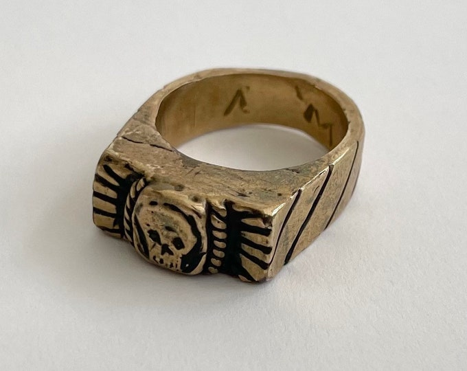 Hefty Brass Biker Ring Band Solid Heavy Weight Vintage Mens Rings Skull Etching Signed WV Fathers Day Gift for Him Size 11.75