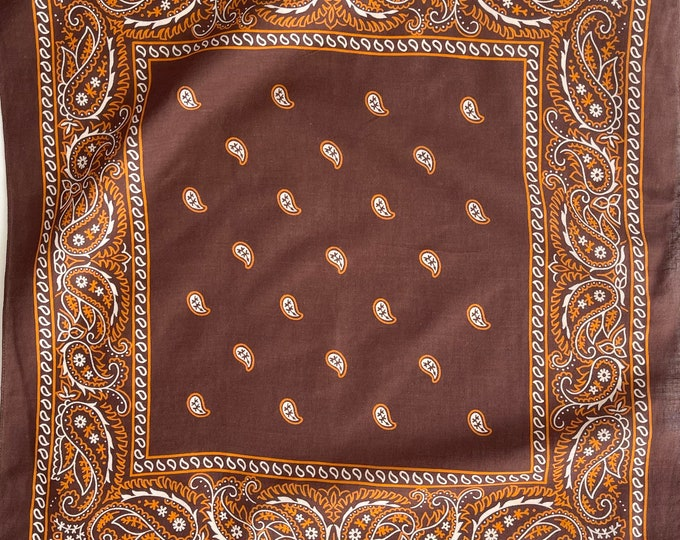 60s 70s Brown Bandana Vintage Fast Color Soft All Cotton Western Cowboy Rare White Orange Dark Brown Paisley Floral Print