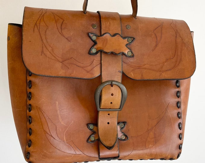 Handsome Tooled Leather Briefcase Satchel Handmade Sturdy Vintage Distressed Brown Leather Brass Buckle Closure Mens Leather Goods