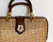 Large Wicker Purse Bag Top Handle Vintage Rattan Weave Woven Brass Tone Hardware Heavy Sturdy Weight Made in Hong Kong