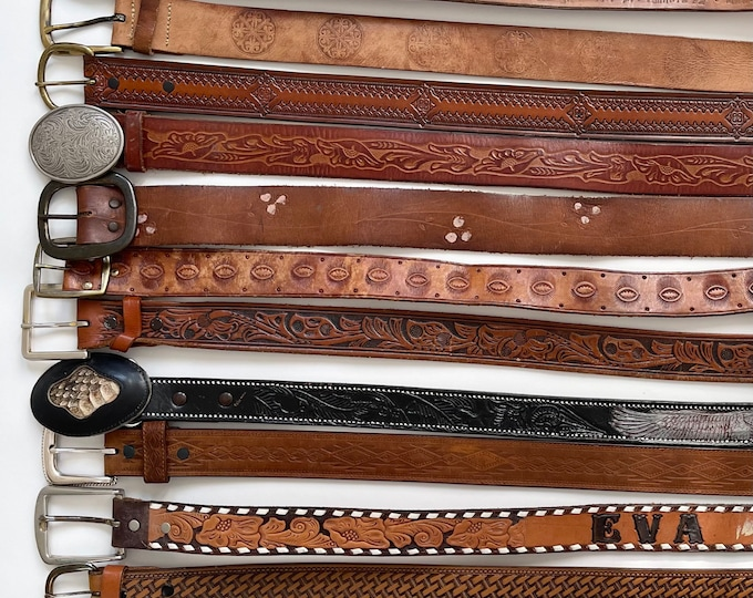 Brown Tooled Leather Belt Vintaged Distressed Leather Goods Belt Strap Buckle Rugged Western Rodeo Style Mens Women's Belts