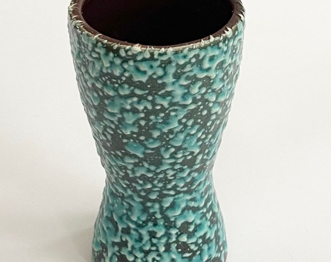 Turquoise Scheurich Germany Vase Mid Century Vintage 60s Ceramic Pottery Thick Textured Glaze Marked 244 17 W GERMANY