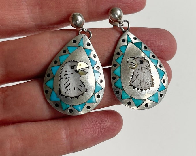 Zuni Turquoise Inlay Earrings Signed Nancy Haloo NH Vintage Native American Zuni Animal Flush Inlay Sterling Silver Drop Dangle Style