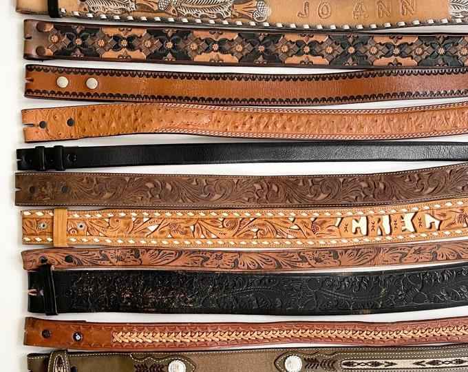Tooled Leather Belt Strap Vintage Snap On Detachable Brown Black Distressed Rugged Western Mens Women's Western Belt Strap for Buckle