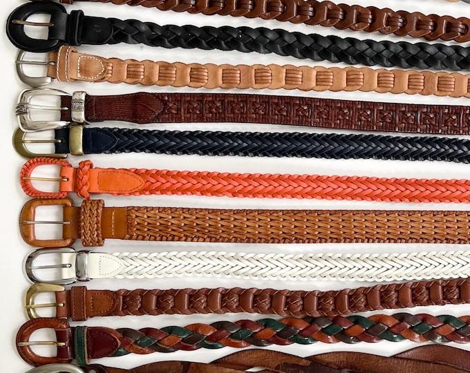 Minimalist Braided Leather Belt Belts Vintage Leather Goods Woven Basketweave Woven Cotton Brown Black Multicolor Mens Womens