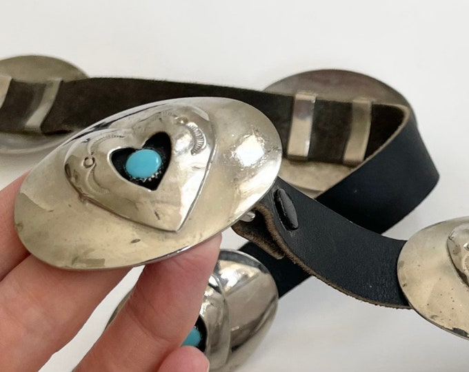 Western Concho Belt Signed BC Vintage Silver Tone Metal Conchas with Heart Detail Vintage Western Belts