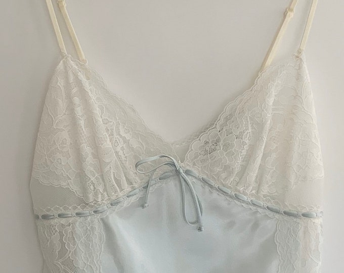 Neiman Marcus Babydoll Icy Blue and Ivory Romantic Vintage Nightie Nightgown Lace Trim Size XS