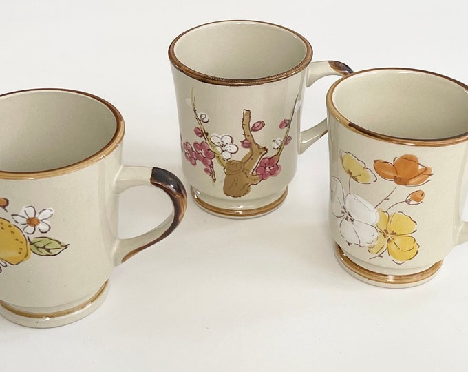 Mid Century Floral Mugs Set of Three Vintage Sunnycraft Stoneware Collection MCM Made in Korea Beige with Hand Decorated Flowers 21102