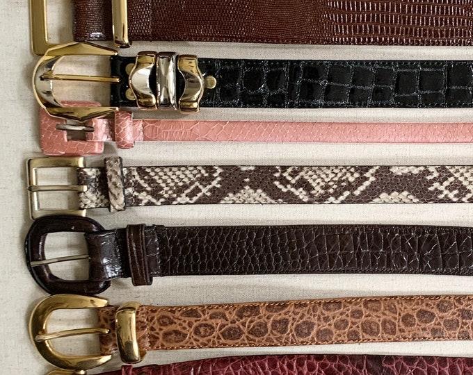 Lizard Snakeskin Embossed Belt Belts Vintage Leather Goods Women's Belts Minimalist Simple Classic Style Skinny Wide
