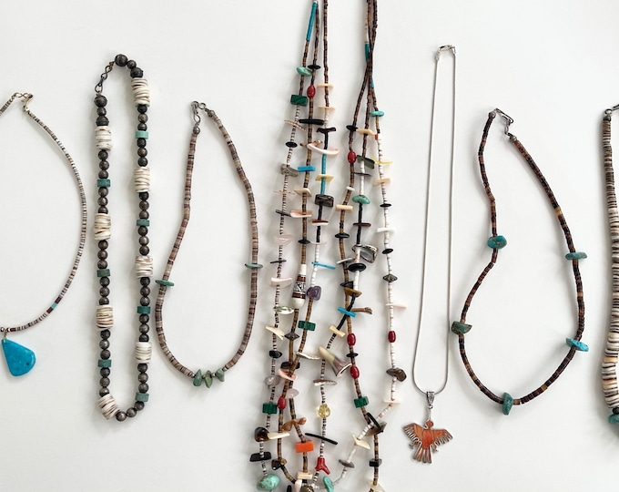Native American Necklace Stackable Stacking Layering Necklaces Choker Handmade Beaded Heishi Sterling Silver Turquoise Nugget Thunderbird