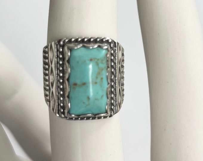 Stamped Navajo Turquoise Ring Signet Rectangle Biker Style Vintage Native American Jewelry Size 8.5