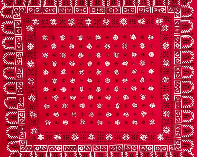 Dot Starburst Red Bandana Vintage 60s Black White Lightweight All Cotton