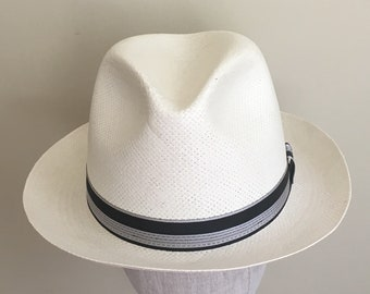 a54d9010 Mens Fedora Hat Dobbs Fifth Avenue New York Mens Hats White Cream Coated  Straw Cocktail Party Wedding Derby