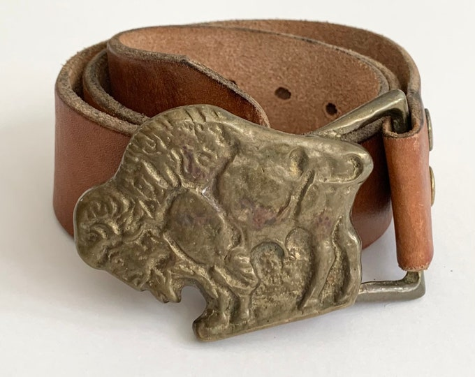 Solid Brass Buffalo Buckle Belt Vintage Western Ranch Bison Distressed Brown Leather Strap