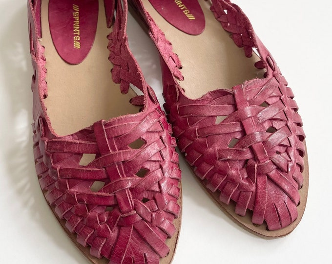 Brazilian Leather Huarache Sandals Women's Slip On Shoes Slides Made in Brazil Woven Cranberry Leather Excellent Condition Size 7 7.5