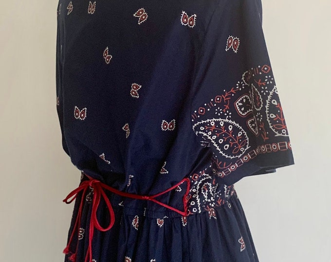 Navy Bandana Print Dress Vintage Blair Made in India All Cotton Red White Blue Paisley Tie Waist Size XS S