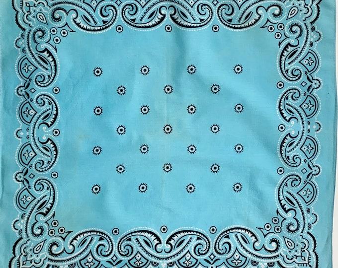 Turquoise Blue Cotton Bandana Vintage 60s All Cotton Black White Paisley Print Selvedge Edge Soft Faded Patina