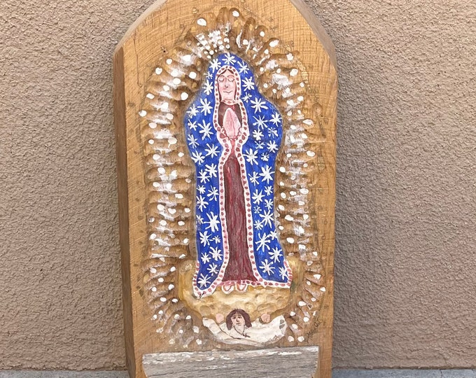 Signed Religious Folk Art Our Lady of Guadalupe Hand Painted Solid Wood Wooden Wall Hanging Shelf Rustic Aged Patina Santo Retablo Painting