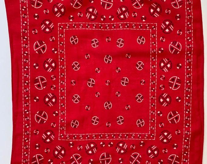 50s 60s Red Bandana Fast Color Vintage All Cotton RN 14193 Circles Geometric Print