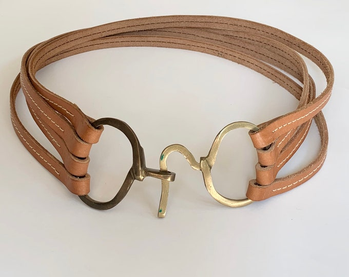 Handmade Horse Bit Belt Vintage Tan Brown Leather Goods Belts Brass Horsebit Buckle Equestrian Style Womens Waist Belt