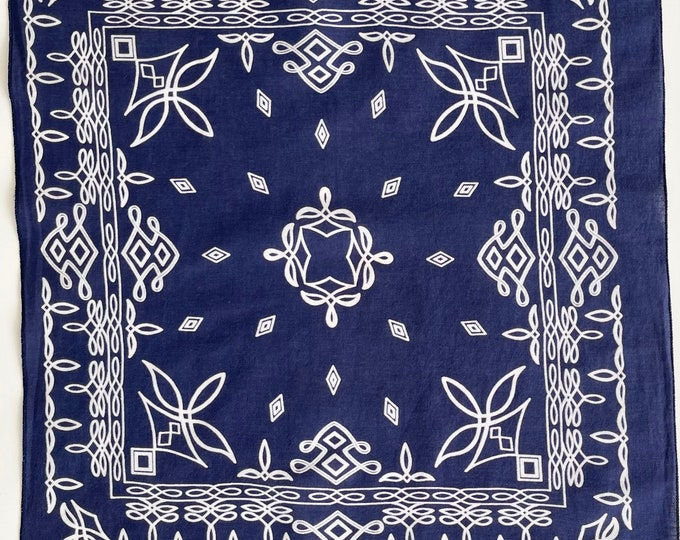 Rare Print Indigo Bandana Vintage 60s 70s Fast Color for Hav-A-Hank All Cotton Unique Navy Blue White Scroll Pattern