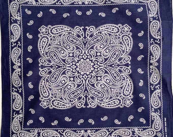 Indigo Blue Bandana Elephant Trunk Up Vintage 60s 70s Color FastPaisley Scroll Print Navy Blue