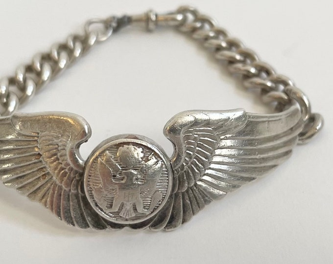 Sterling Silver Wings Bracelet Gemsco Vintage WWII Militaria Air Force Military Pilot Wing Chain Link