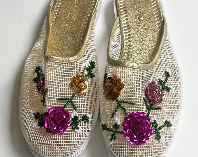 Sequined Chinese Mesh Slippers Slip On Slides House Shoes Vintage 80s 90s Avon Sequin Flowers Open Weave Mesh Womens Size 8