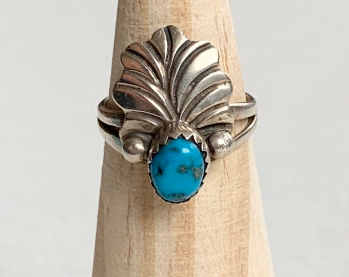 Delicate Navajo Turquoise Ring Vintage Native American Sterling Silver Feather Detail Women's Rings Size 6