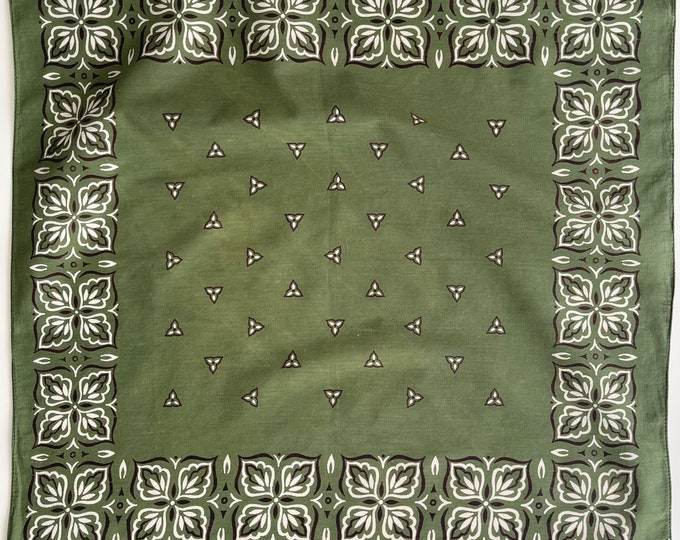 Army Green Olive Bandana Vintage 60s 70s Washfast Colors Soft All Cotton Dark Green Black White Floral Print