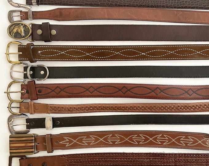 Western Belt Distressed Leather Belts Vintage Mens Women's Worn Rustic Rugged Black Brown Strap