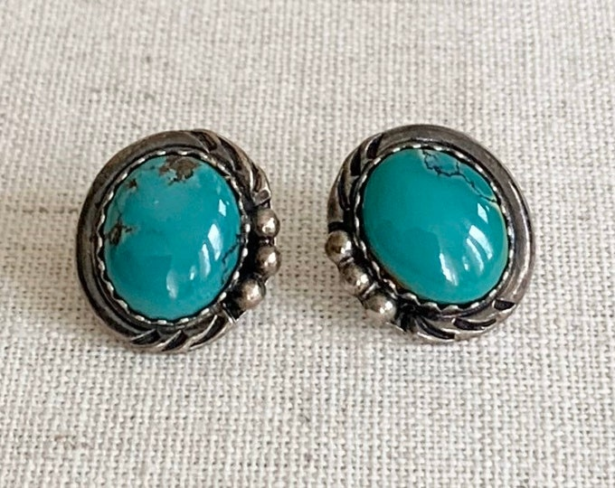 Navajo Turquoise Earrings Sterling Silver Vintage Native American Artist Stud Studs Green Turquoise with Veining