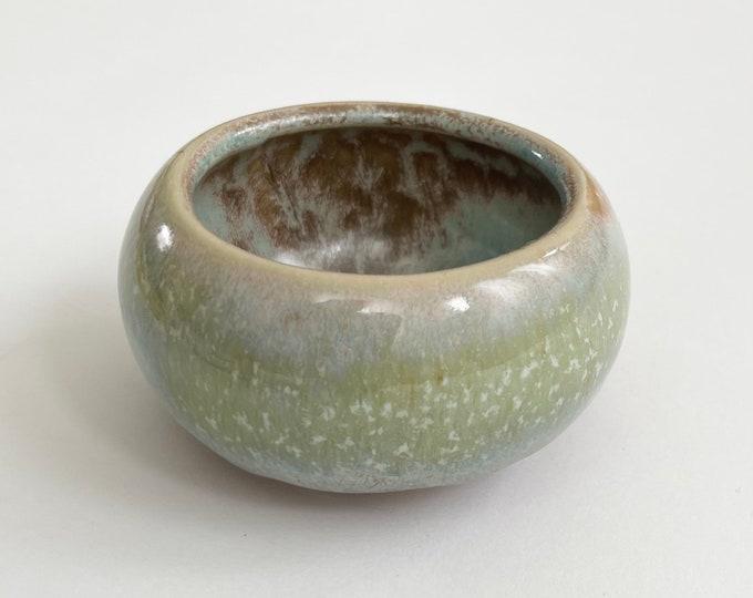 Glazed Pottery Candle Holder Tea Light Votive Holder Vintage Green Aqua Blue Beige Glazing Home Decor Small Size