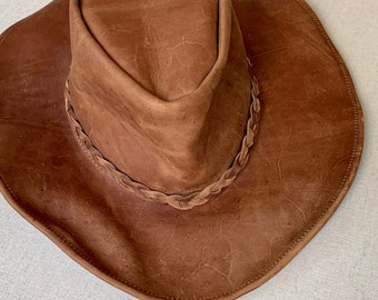 27326ab963bfd Brown Leather Cowboy Hat Vintage Western Braided Hat Band Distressed  Leather Goods Made in Mexico Size S