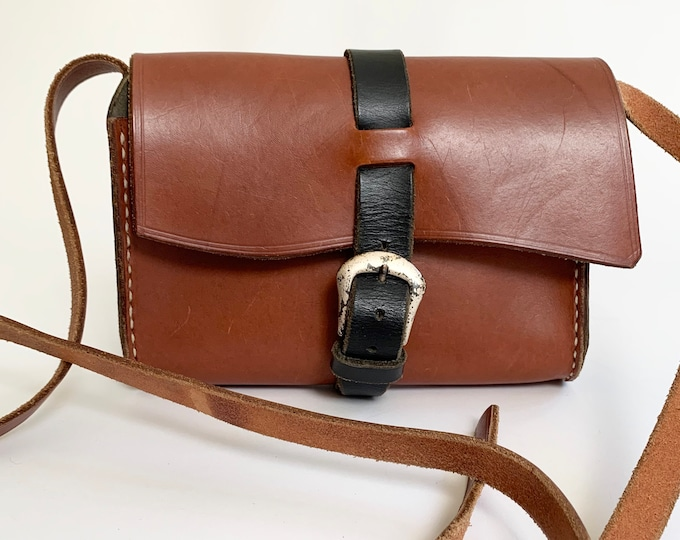 Two Tone Leather Purse Messenger Bag Handbag Black Brown Leather Goods Vintage Minimalist Buckle Closure Adjustable Strap